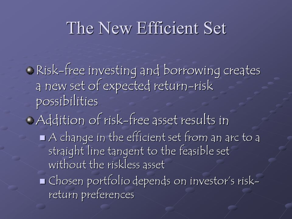 The New Efficient Set Risk-free investing and borrowing creates a new set of expected return-risk possibilities.
