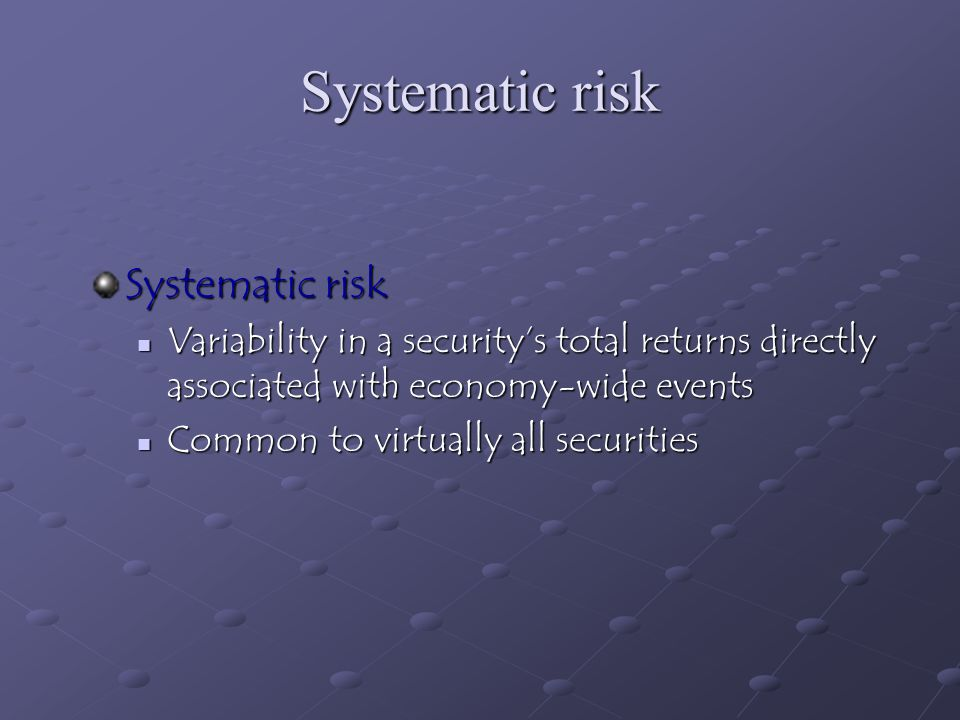 Systematic risk Systematic risk