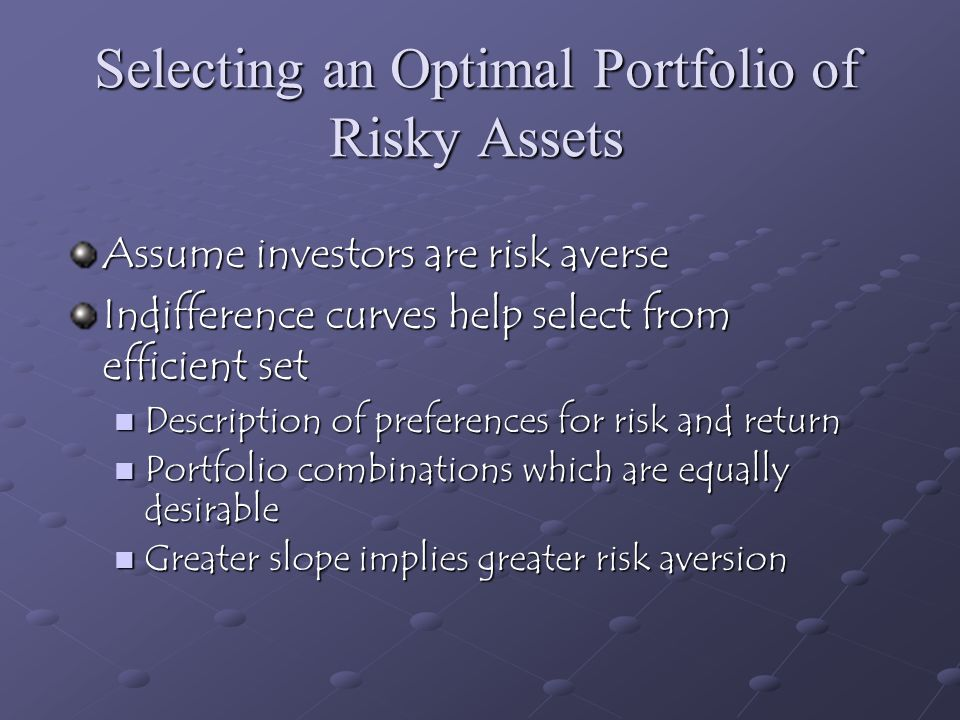 Selecting an Optimal Portfolio of Risky Assets