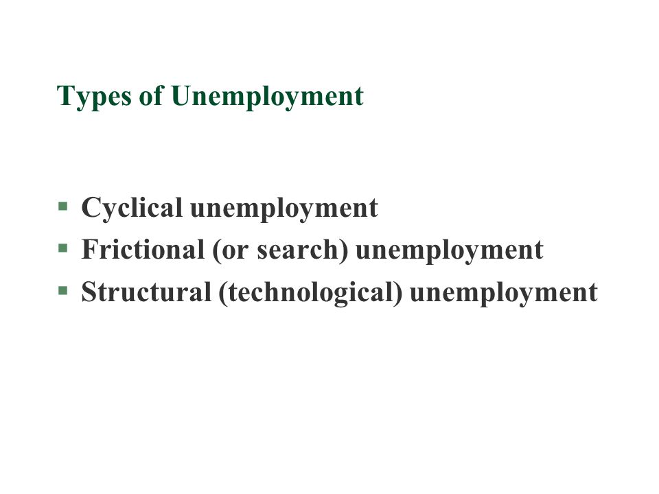 Types of Unemployment Cyclical unemployment. Frictional (or search) unemployment.