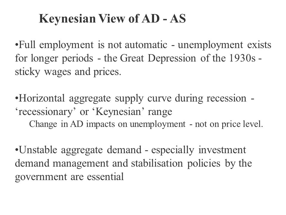 Keynesian View of AD - AS
