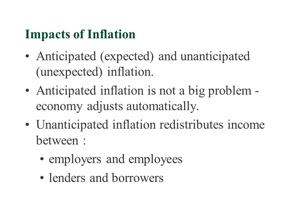 Impacts of Inflation Anticipated (expected) and unanticipated (unexpected) inflation.