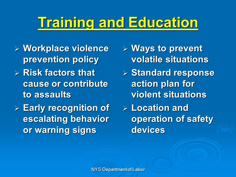 violent behavior response Workplace violence, a complex and widespread issue, has received increased attention from the public, mental health experts, and law enforcement professionals 1 the wide range of acts that fall under this rubric include all violent behavior and threats of violence, as well as any conduct that can result in injury, damage property, induce a sense of fear, and otherwise impede the normal course .