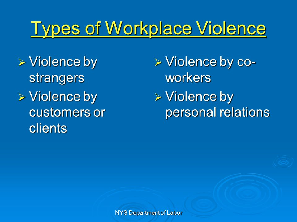 violence within the workplace While domestic violence seems like it would be confined to the home, its effects can reach beyond the home and into the workplace employers and employees should educate themselves on the best ways to reach out to the victims of domestic violence how domestic violence enters the workplace the physical and.
