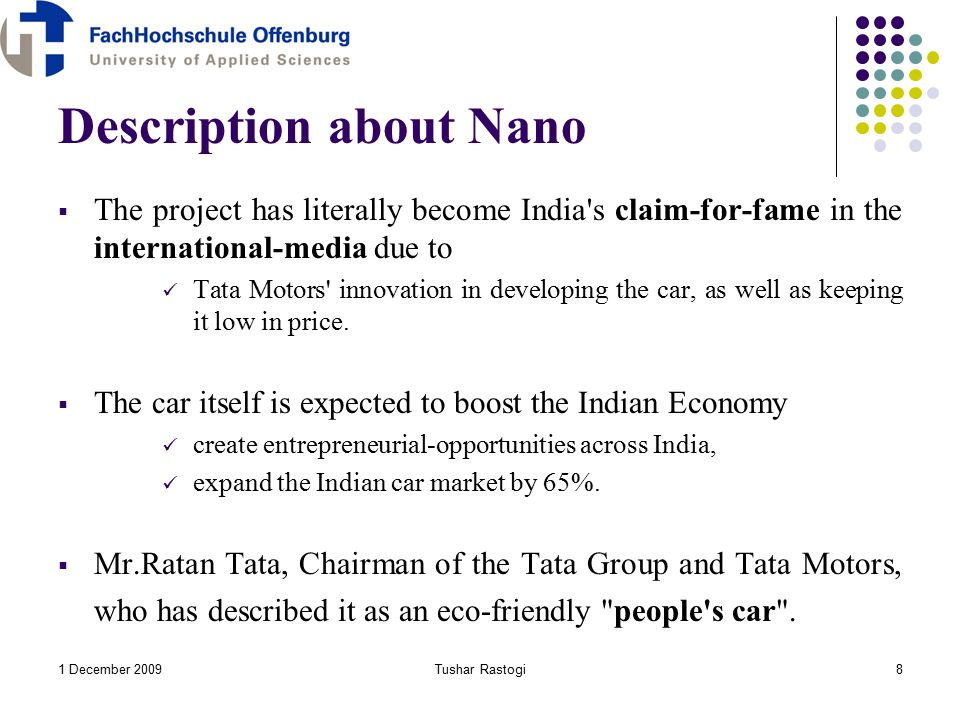 tata nano innovation description Real advice for tata xenon car buyers including reviews, news, price developed by tata motors' tamo division, an incubating centre of innovation.