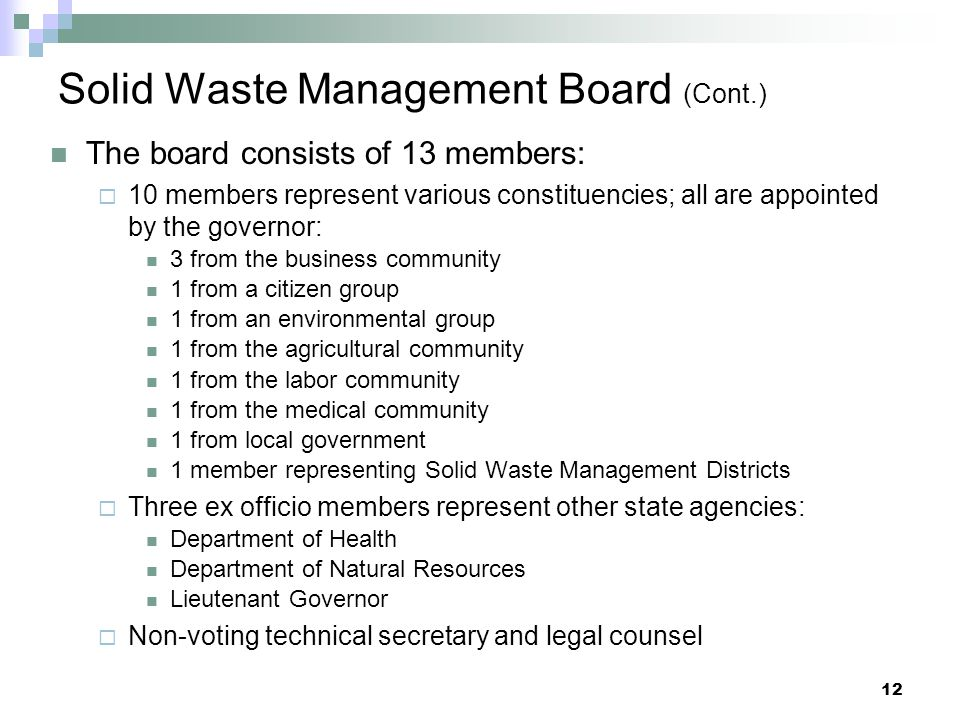 Solid Waste Management Board (Cont.)