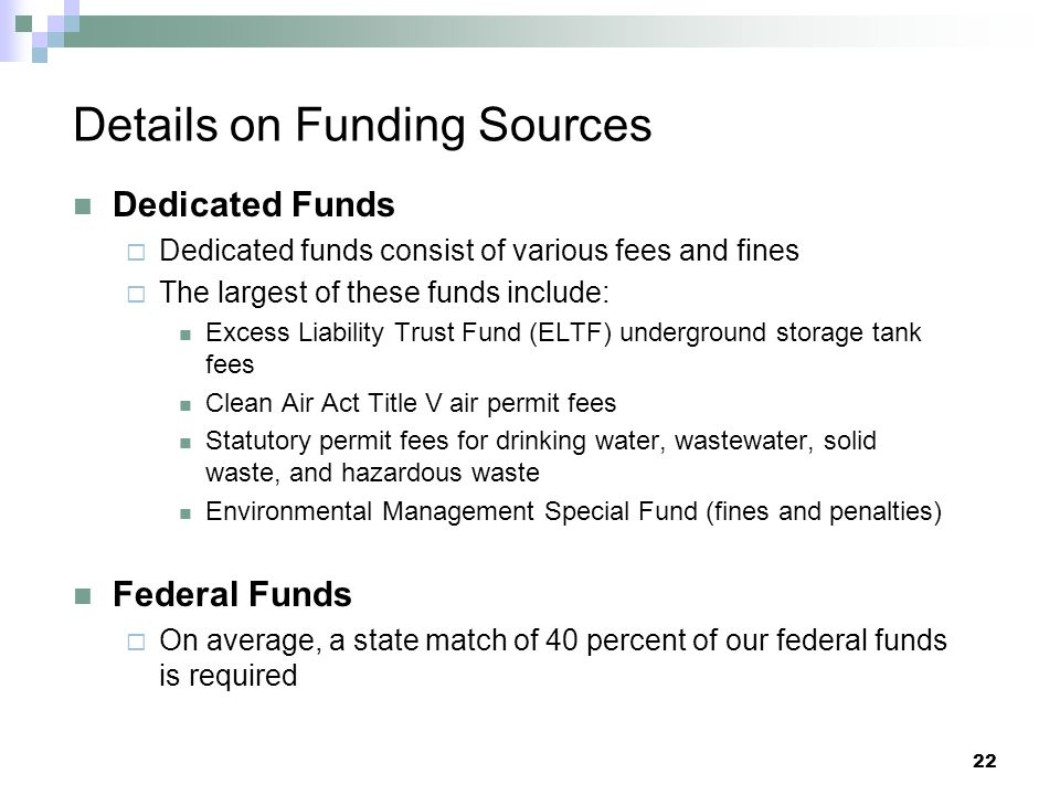 Details on Funding Sources