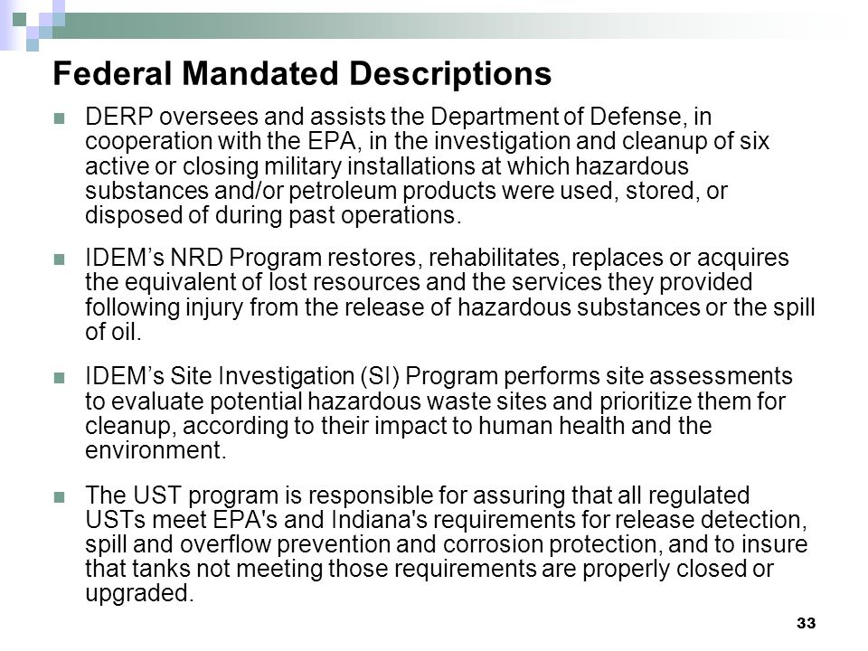Federal Mandated Descriptions
