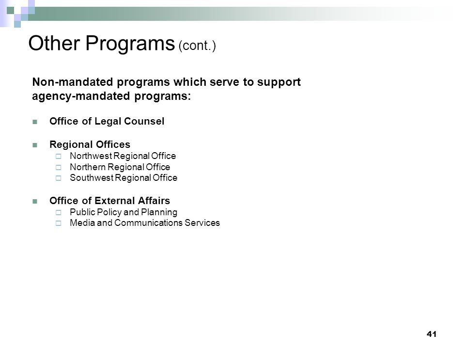 Other Programs (cont.) Non-mandated programs which serve to support