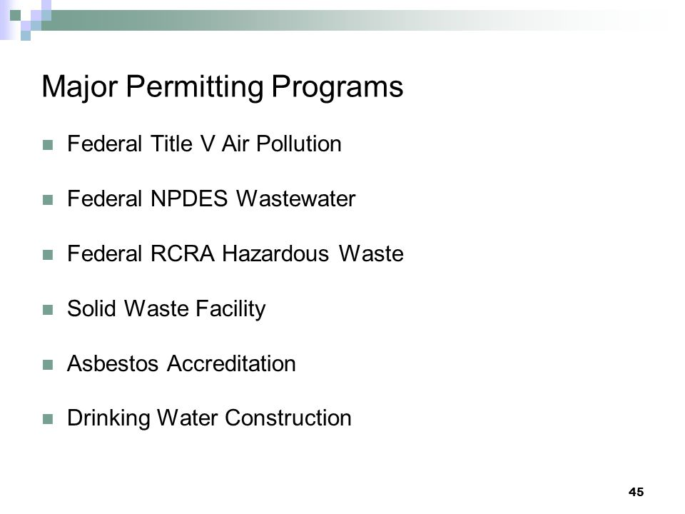 Major Permitting Programs