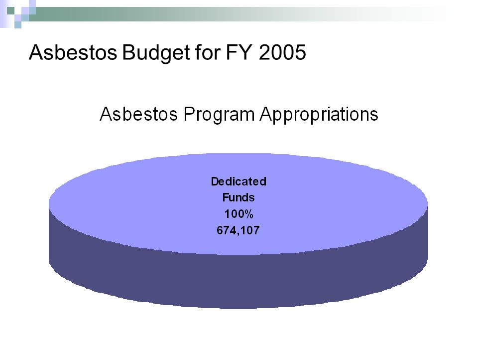 Asbestos Budget for FY 2005