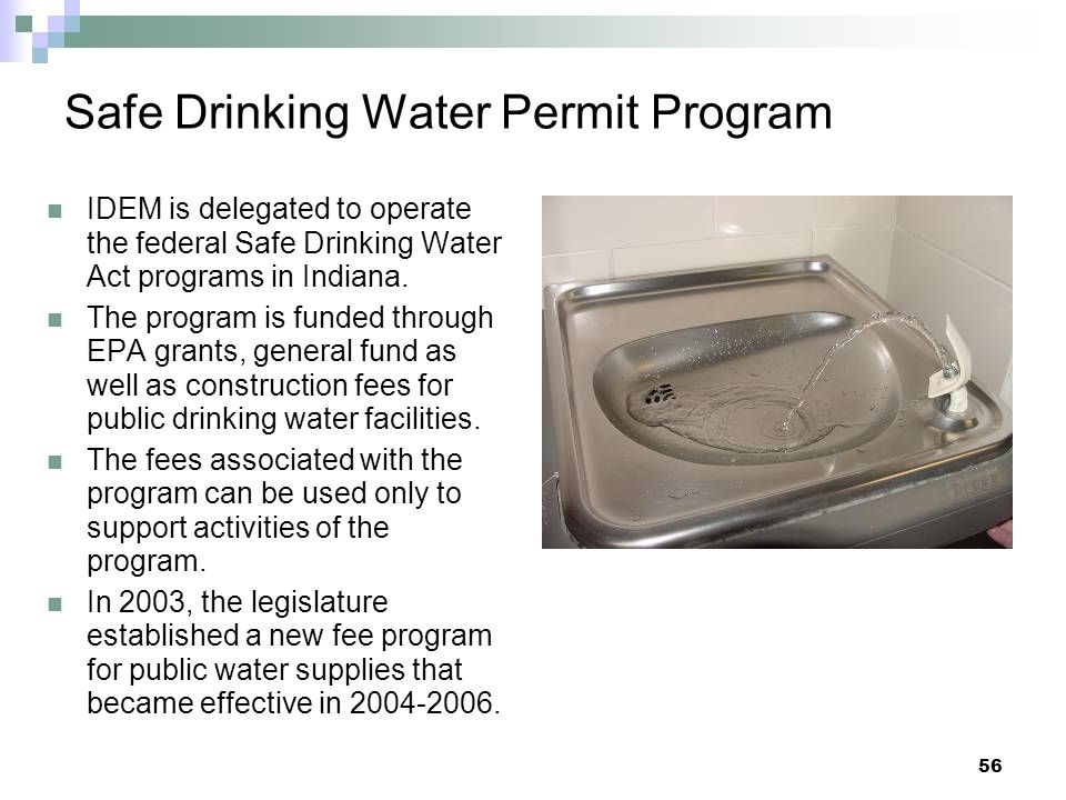 Safe Drinking Water Permit Program