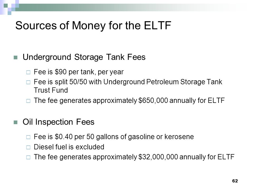Sources of Money for the ELTF