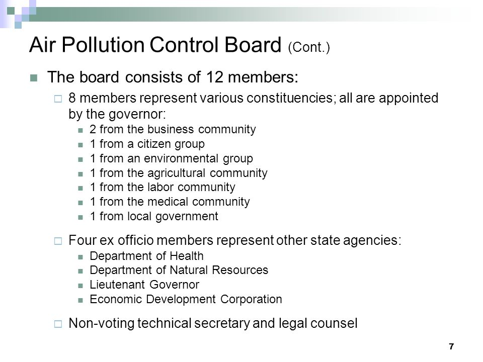 Air Pollution Control Board (Cont.)