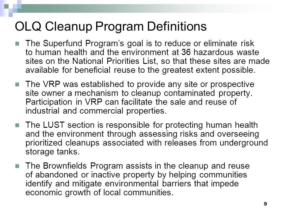 OLQ Cleanup Program Definitions