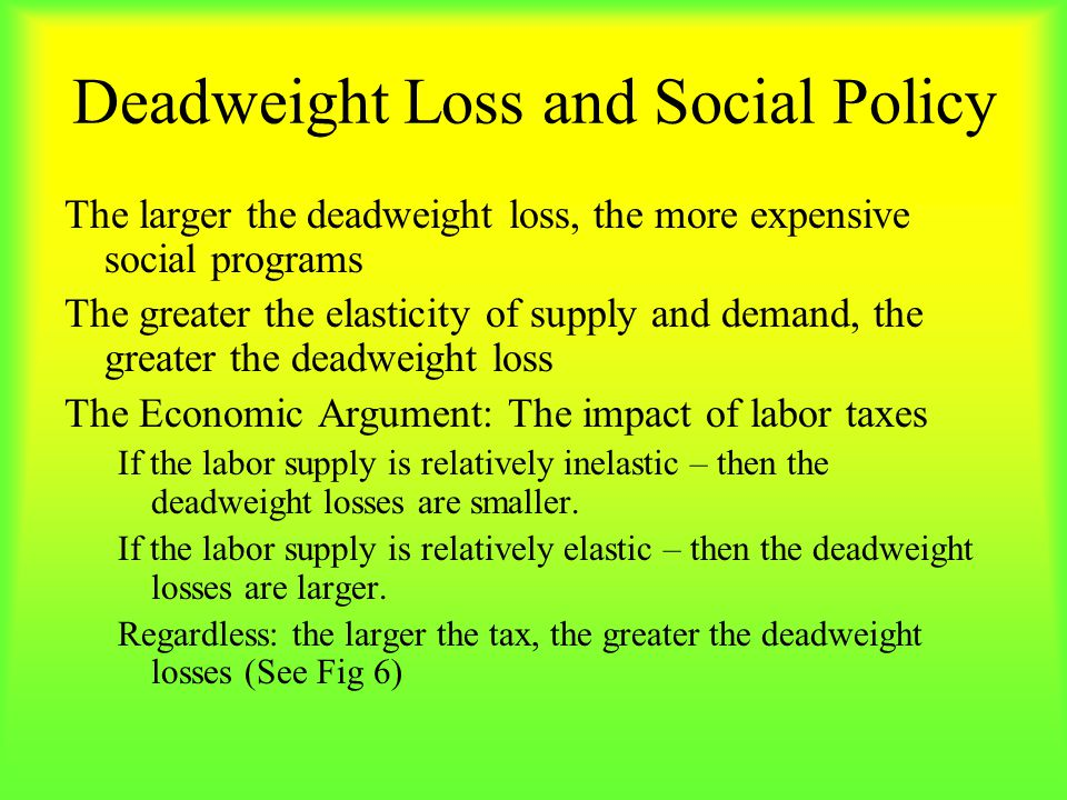 Deadweight Loss and Social Policy