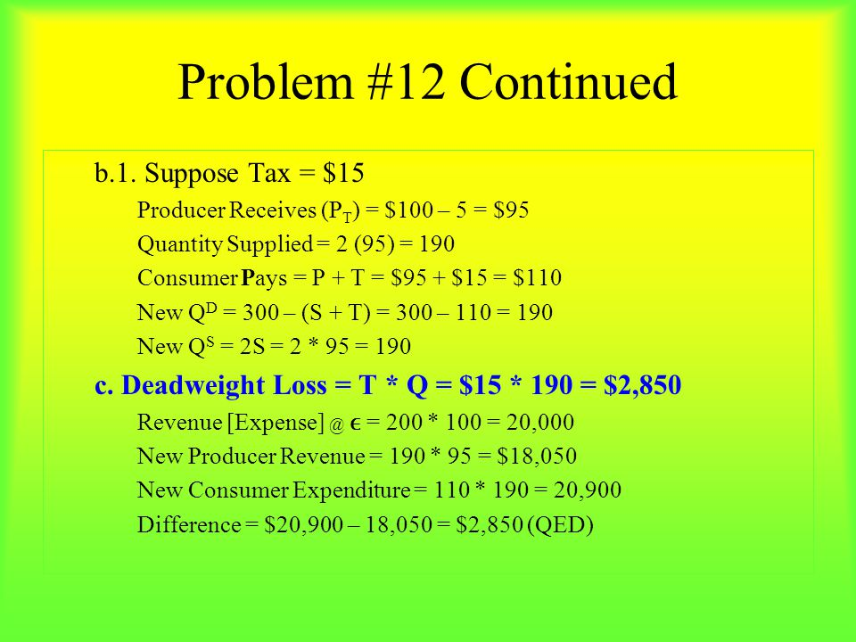 Problem #12 Continued b.1. Suppose Tax = $15