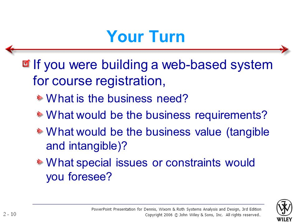 Your Turn If you were building a web-based system for course registration, What is the business need