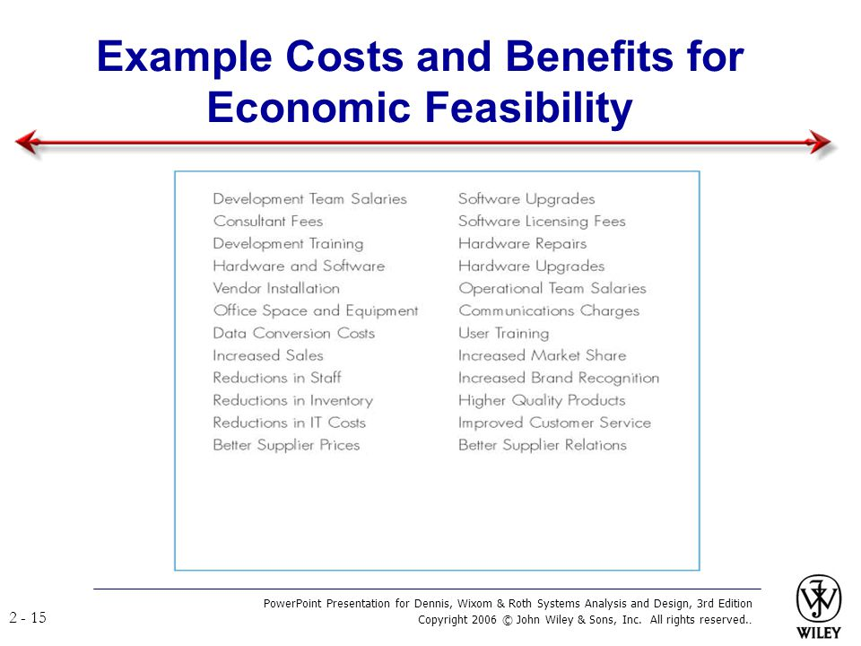 Example Costs and Benefits for Economic Feasibility