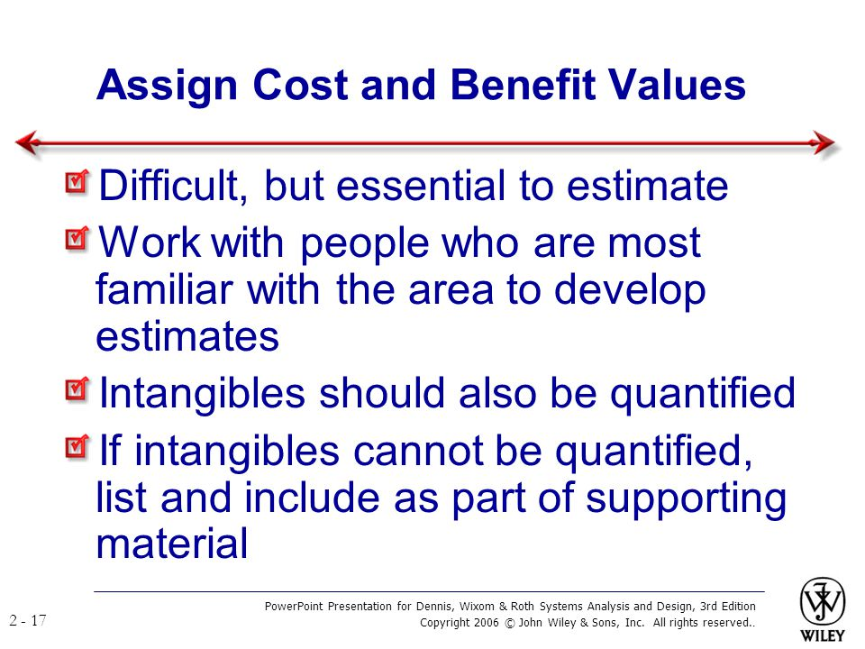 Assign Cost and Benefit Values