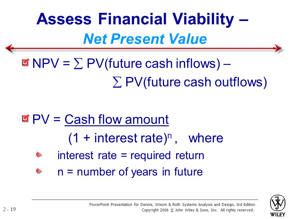 Assess Financial Viability – Net Present Value