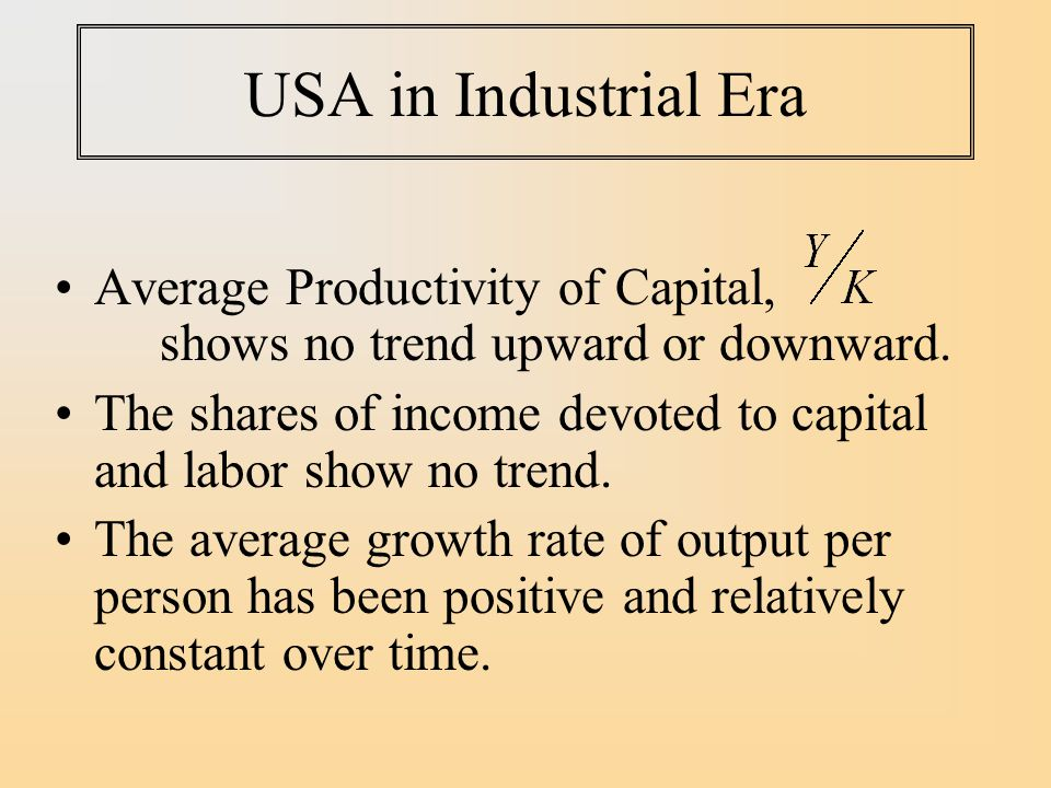 USA in Industrial Era Average Productivity of Capital, shows no trend upward or downward.