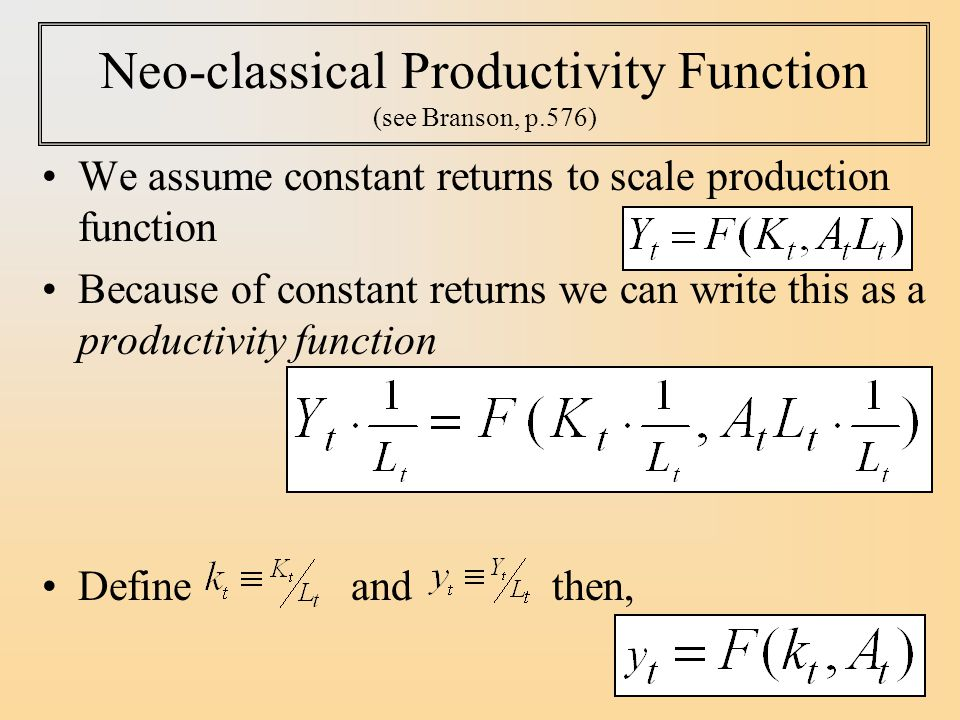 Neo-classical Productivity Function (see Branson, p.576)