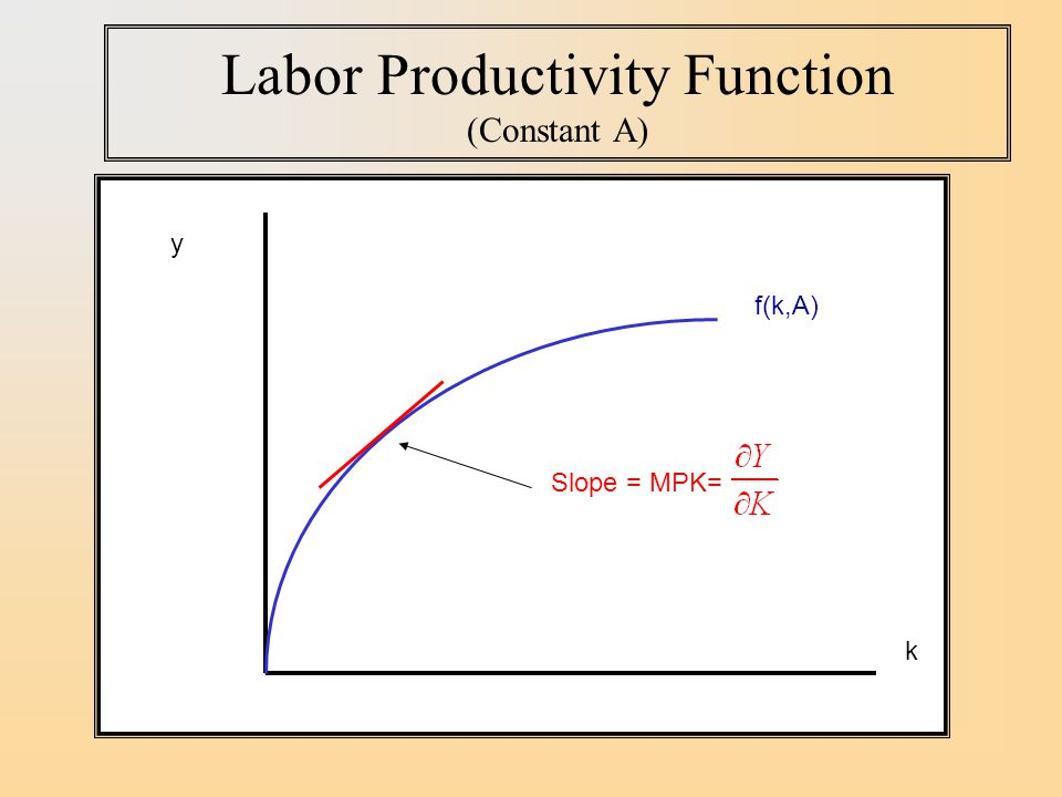 Labor Productivity Function (Constant A)