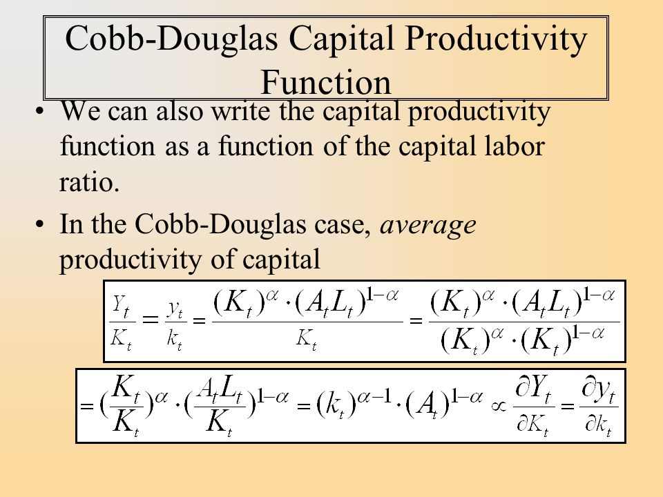 Cobb-Douglas Capital Productivity Function