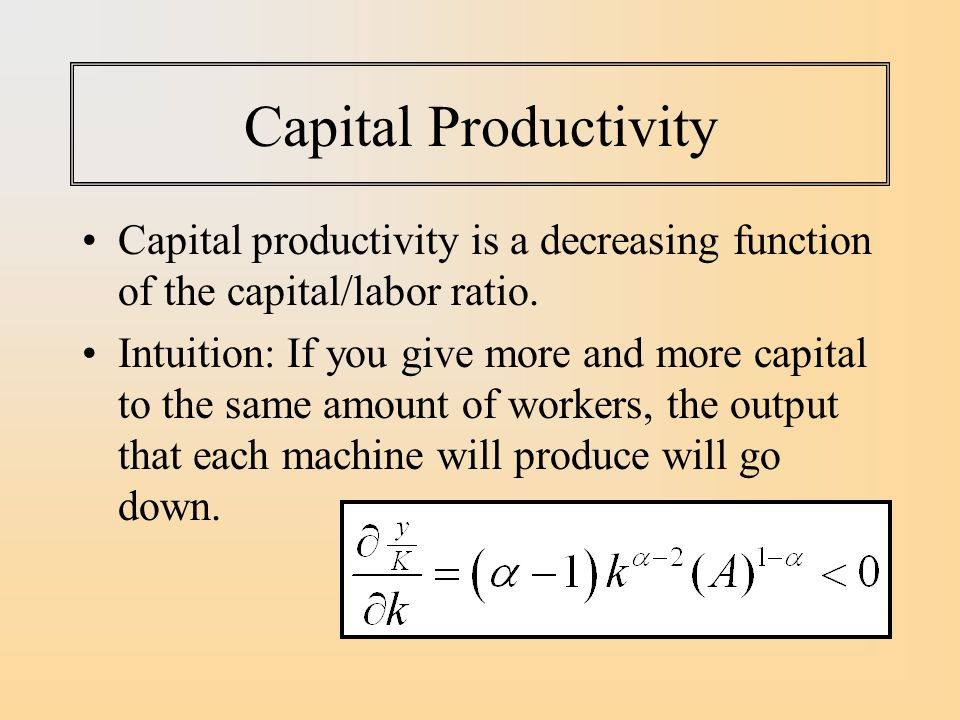 Capital Productivity Capital productivity is a decreasing function of the capital/labor ratio.