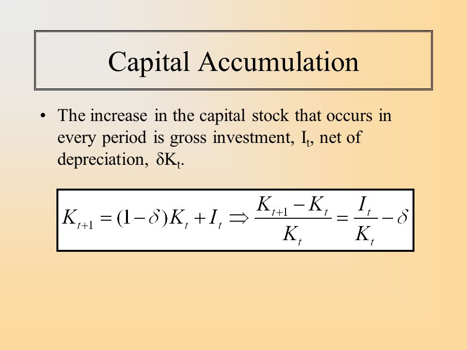 Capital Accumulation The increase in the capital stock that occurs in every period is gross investment, It, net of depreciation, δKt.