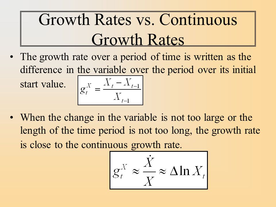 Growth Rates vs. Continuous Growth Rates