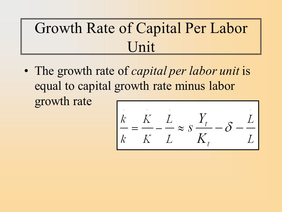 Growth Rate of Capital Per Labor Unit