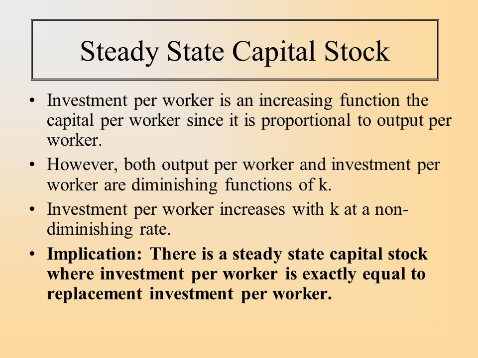 Steady State Capital Stock