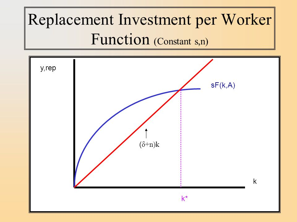 Replacement Investment per Worker Function (Constant s,n)