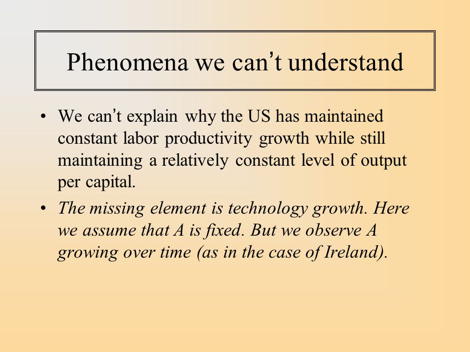 Phenomena we can't understand