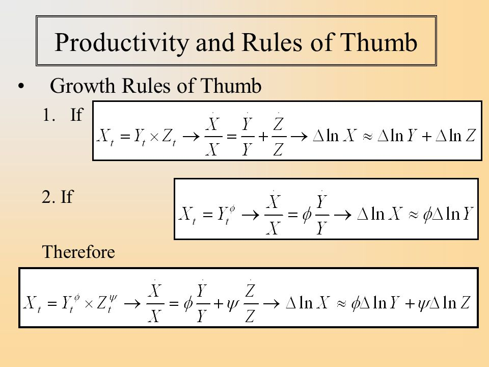 Productivity and Rules of Thumb