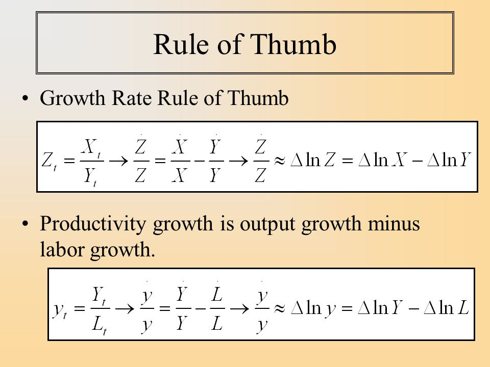 Rule of Thumb Growth Rate Rule of Thumb