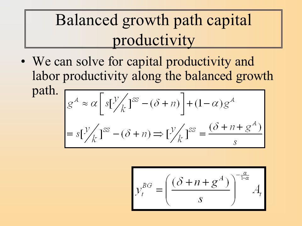 Balanced growth path capital productivity