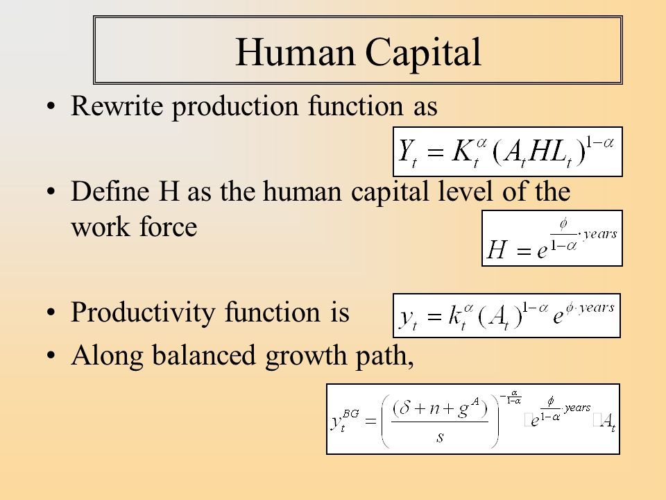 Human Capital Rewrite production function as