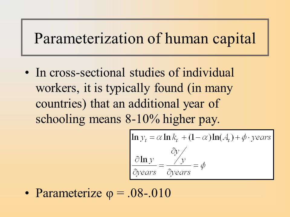 Parameterization of human capital