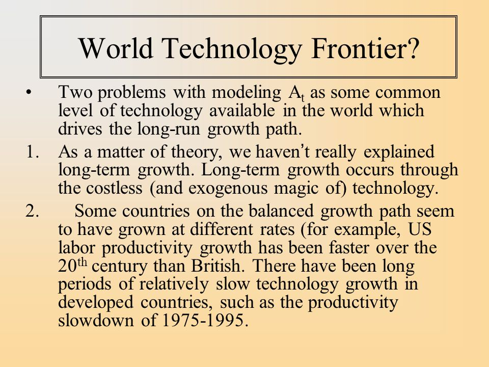 World Technology Frontier