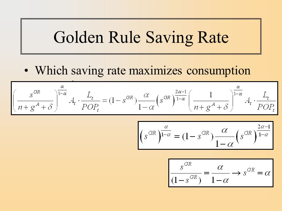 Golden Rule Saving Rate