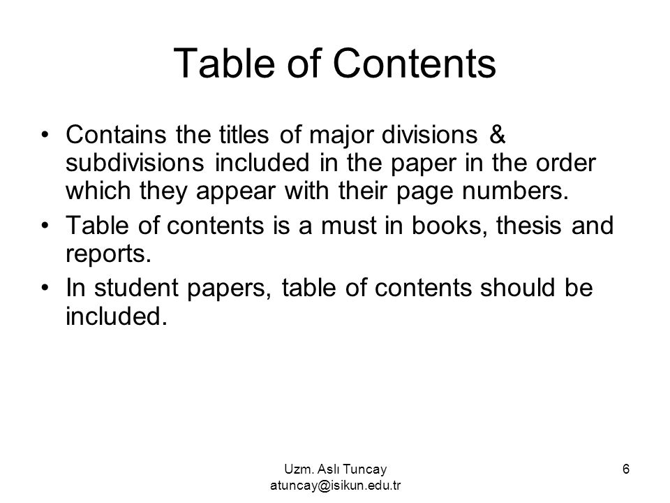 thesis contents order