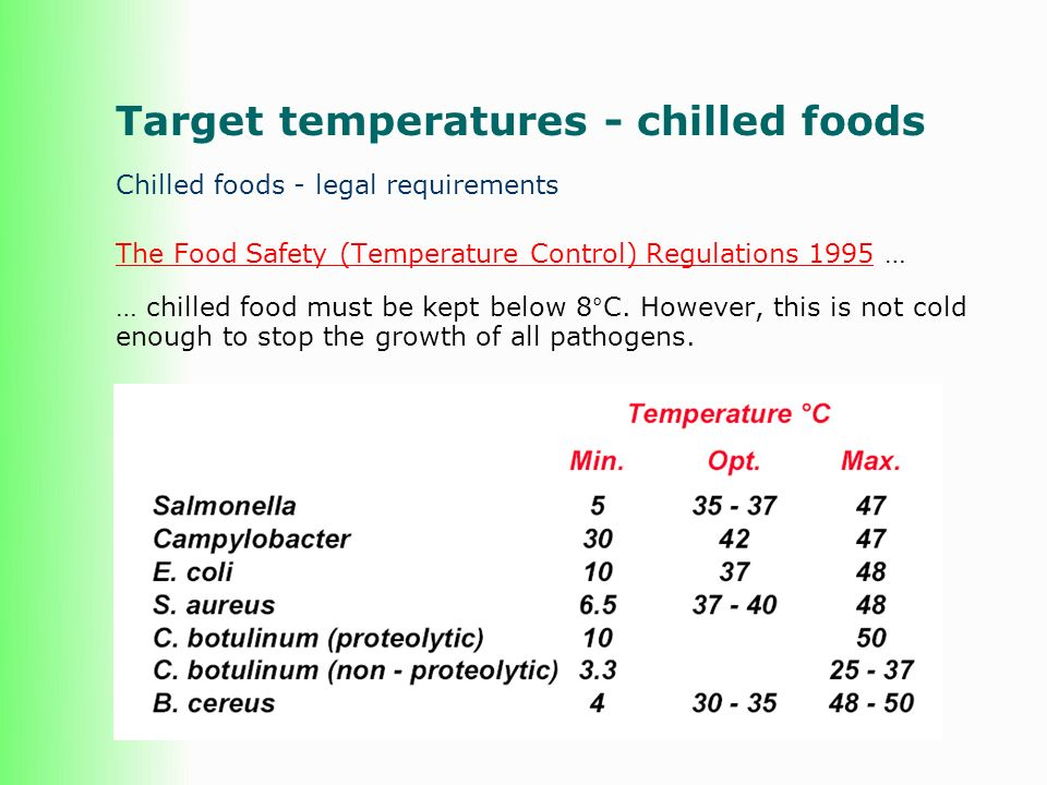 Target temperatures - chilled foods
