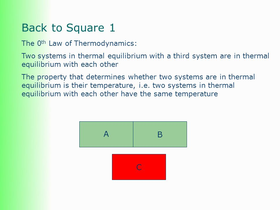 Back to Square 1 A B C The 0th Law of Thermodynamics: