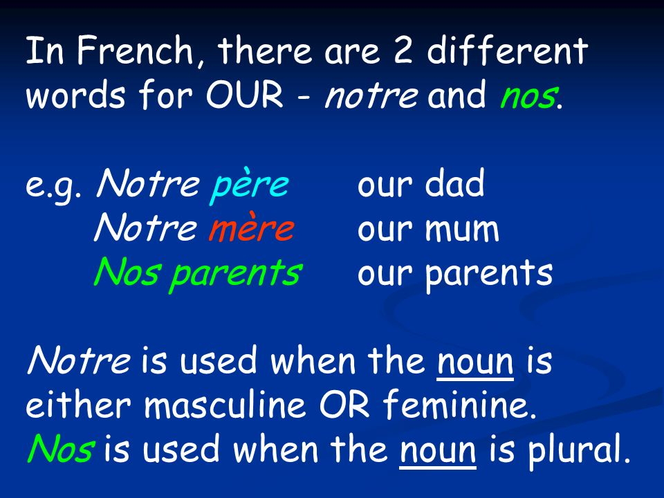 In French, there are 2 different words for OUR - notre and nos.