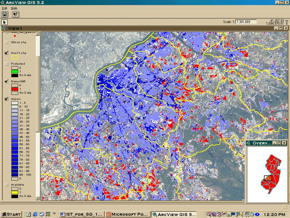 In this Geographic Information System map for the greater Camden area, impervious surface is depicted in shades of blue in 5% increments.