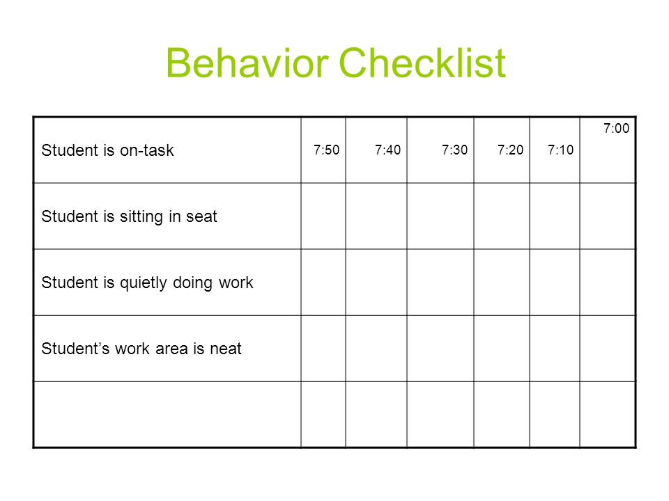 Behavior Checklist Student is on-task Student is sitting in seat