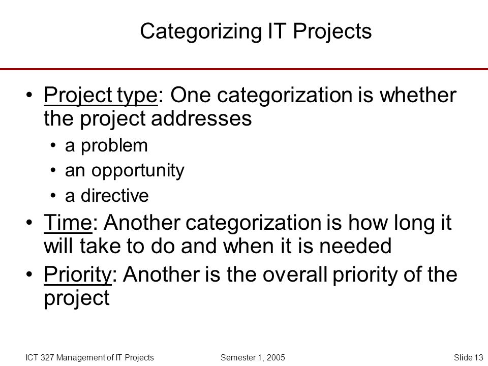 Categorizing IT Projects